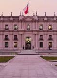 Palacio de La Moneda in Santiago de Chile. Chile, Santiago, Twilight view of La Moneda Palace from the Plaza de la Ciudadania royalty free stock photo