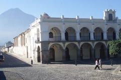 Palacio de los Capitanes. On Plaza Central in Antigua Guatemala with Vulcan de Agua in the background. Central America Royalty Free Stock Photos