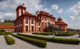 Arquitectura del castillo francés de Praga del palacio de Troja de la señal Fotografía de archivo libre de regalías