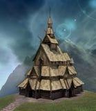 Palacio de vikingo de la fantasía en un paisaje del cielo azul libre illustration