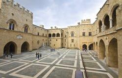 Palacio del amo magnífico en Rodas, Grecia Imagen de archivo libre de regalías