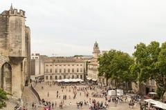 Palacio del papa en Avignon Cuadrado central, Provence, Francia Foto de archivo