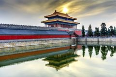 Palacio divino Pekín C de Gugong la ciudad Prohibida de la pureza de la puerta posterior imagen de archivo