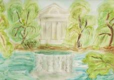 Palacio en el parque, pintando Fotos de archivo