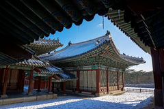 Palacio en la ciudad de Seul, Corea del Sur fotografía de archivo