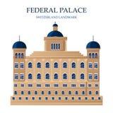 Palacio federal en señal famosa de las arquitecturas del vector de Suiza Casa del parlamento en Berna, suizo stock de ilustración