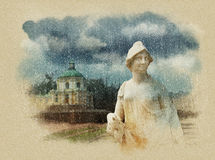 Palacio grande de Menshikovsky Oranienbaum St Petersburg Bosquejo de la acuarela Sepia Foto de archivo