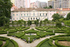 Palacio Laranjeiras in Lisbon, Portugal. Back façade of the historic Palacio Laranjeiras in Lisbon, the capital of Portugal. It is the seat of the Ministry of royalty free stock photography