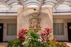 Palacio Legislativo La costruzione dell'assemblea legislativa in Campeche, interna con la stemma San Francisco de Campeche, Immagini Stock
