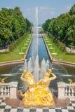 Palacio magnífico de Peterhof Imagen de archivo libre de regalías