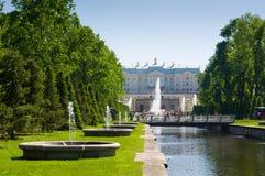 Palacio magnífico de Peterhof, la cascada magnífica y Samson Fountain Imagenes de archivo