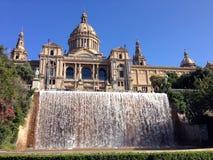 Palacio Nacional, nationell slott i Barcelona Royaltyfri Fotografi