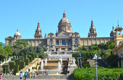 Palacio Nacional, nationell slott i Barcelona Royaltyfri Bild