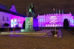 Palacio presidencial en la noche. Warsaw.Poland Imágenes de archivo libres de regalías