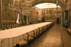 Palacio Real. A view of the state dining room in the Royal Palace or Palacio Real in Madrid Stock Images