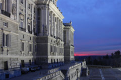 Palacio Real at blue hour Stock Photo