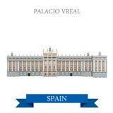 Palacio Real Madrid Hiszpania przyciągania widoku płaski wektorowy punkt zwrotny royalty ilustracja