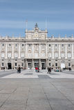 Palacio real. MADRID - MARCH 2: Visitors in front of the Royal Palace of Aranjuez on March 2, 2013 in Madrid, Spain. the official residence of the Spanish Royal Royalty Free Stock Image