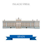 Palacio Real Madrid Spain flat vector attraction sight landmark. Palacio Real in Madrid Spain. Flat cartoon style historic sight showplace attraction web site Stock Photography