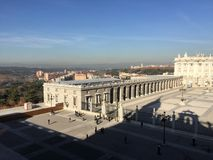 Palacio Real, Madrid, Spain. Royal Palace seen from cathedral of la Almudena. Picture taken in Royalty Free Stock Photo