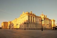 Palacio verkliga Royal Palace på Plaza de Oriente i Madrid Arkivbild