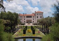 Palacio y jardines, Miami de Vizcaya Foto de archivo