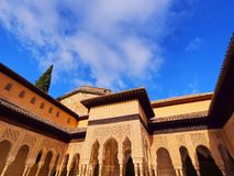 Palacios Nazaries in Granada, Spain. Patio de los Leones in Palacios Nazaries of Alhambra in Granada, Andalusia, Spain Stock Photography