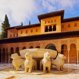 Palacios Nazaries in Granada, Spain. Patio de los Leones in Palacios Nazaries of Alhambra in Granada, Andalusia, Spain Royalty Free Stock Photography