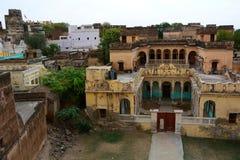 Palacios y fuerte viejos Mandawa Rajasthán La India Imagenes de archivo