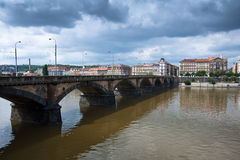 Palackeho Bridge on the Vltava river in Prague Royalty Free Stock Photo