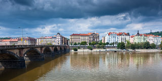 Palackeho Bridge on the Vltava river in Prague Royalty Free Stock Image
