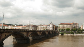Palacky Bridge, Prague - Czech Republic. The Palacky Bridge (1876) is a bridge in Prague. It is one of the oldest functioning bridges over the Vltava in Prague Royalty Free Stock Photography