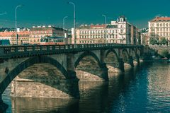 Palacky Bridge in Prague, Czech Republic. Toning in cool tones Royalty Free Stock Photo