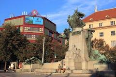 Palacky fyrkant i Prague Royaltyfri Foto