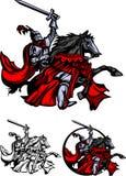Paladín del caballero con insignia de la mascota del caballo ilustración del vector