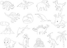 Palaeosaurus, styracosaurus, spinosaurus, ichthyosaur, diplodocu Royalty Free Stock Photography
