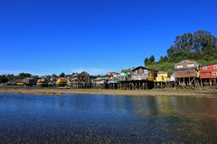Palafito houses on stilts in Castro, Chiloe Island, Chile Royalty Free Stock Images