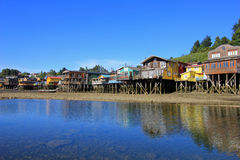Palafito houses on stilts in Castro, Chiloe Island, Chile Royalty Free Stock Photo