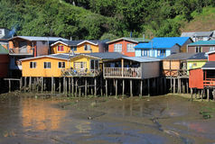 Palafito houses on stilts in Castro, Chiloe Island, Chile Stock Photography