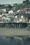 Palafito Wooden Stilt Houses in Castro, Chiloe Archipelago, Chile Stock Image