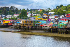 Palafitos in Castro, Chiloe-Insel (Chile) lizenzfreies stockbild