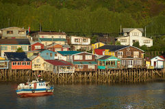 Palafitos of Chiloé. Palafitos. Traditional wooden houses built on stilts along the waters edge in Castro, capital of the Island of Chiloé. These traditional Stock Photos