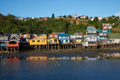Palafitos of Chiloé. Palafitos. Traditional wooden houses built on stilts along the waters edge in Castro, capital of the Island of Chiloé. These traditional Royalty Free Stock Photo
