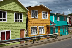 Palafitos of Chiloé. Palafitos viewed from the street. Traditional wooden houses built on stilts along the waters edge in Castro, capital of the Island of Chilo Royalty Free Stock Photo