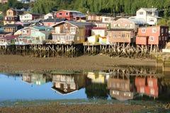 Palafitos em Castro, o Chile fotografia de stock royalty free