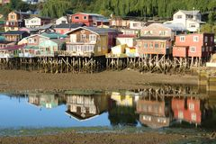 Palafitos en Castro, Chile fotografía de archivo libre de regalías