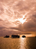 Palafitos. Houses over logs in the water, mexican caribbean Royalty Free Stock Photography
