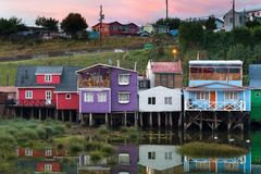 Palafitos pedro montt, traditional stilts houses of the island. Castro, Chiloe Island, Chile - January 29, 2016: Palafitos pedro montt, traditional stilts Royalty Free Stock Photography