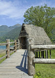 Palafitte on the lake. Palafitte on Ledro lake , italy Stock Photo