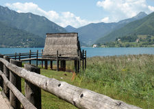 Palafittes around Ledro Lake in Trentino, Italy Stock Images